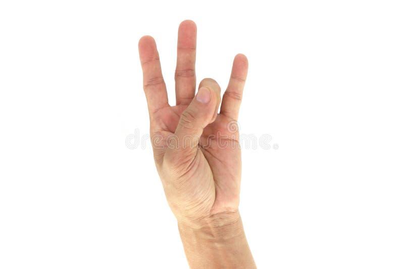 Wojska, pacnięcie ręki Taktyczni sygnały/sygnał: 7 Siedem odizolowywających na białym tle obraz royalty free