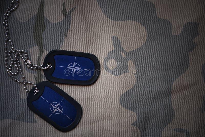 wojska puste miejsce, psia etykietka z flaga nato na khakim tekstury tle zdjęcia royalty free