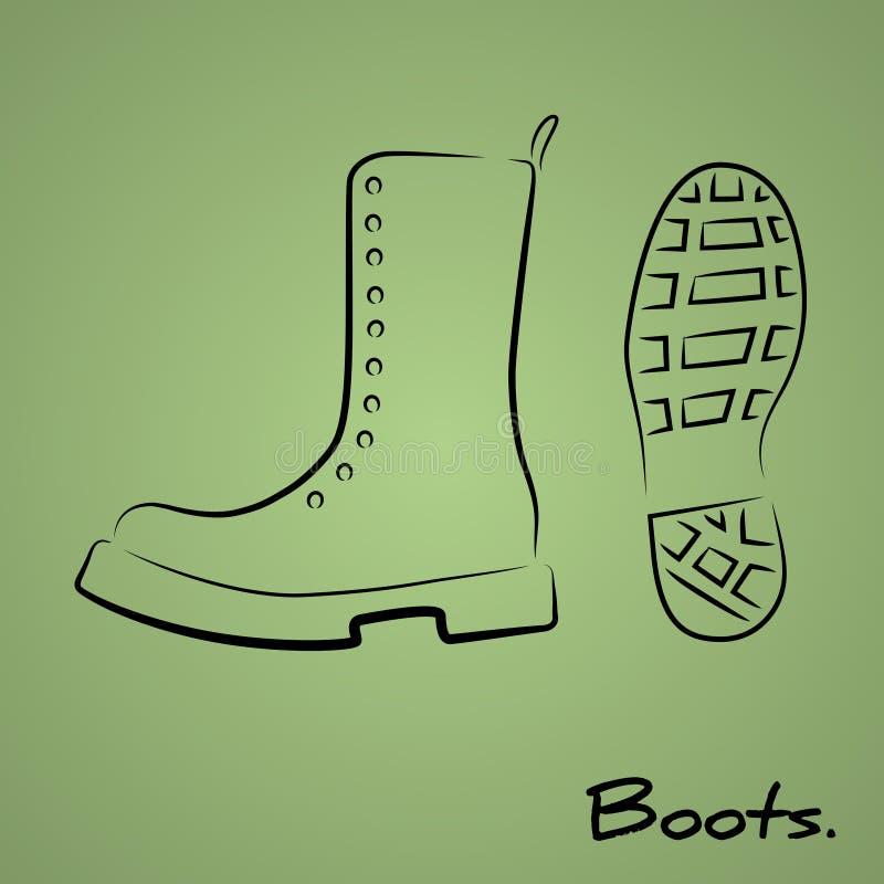 wojska tła buty odizolowywali biel royalty ilustracja