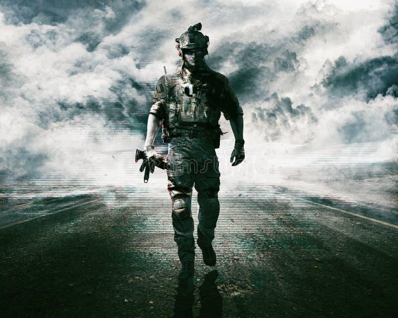 Wojsko żołnierz na drodze zdjęcia stock