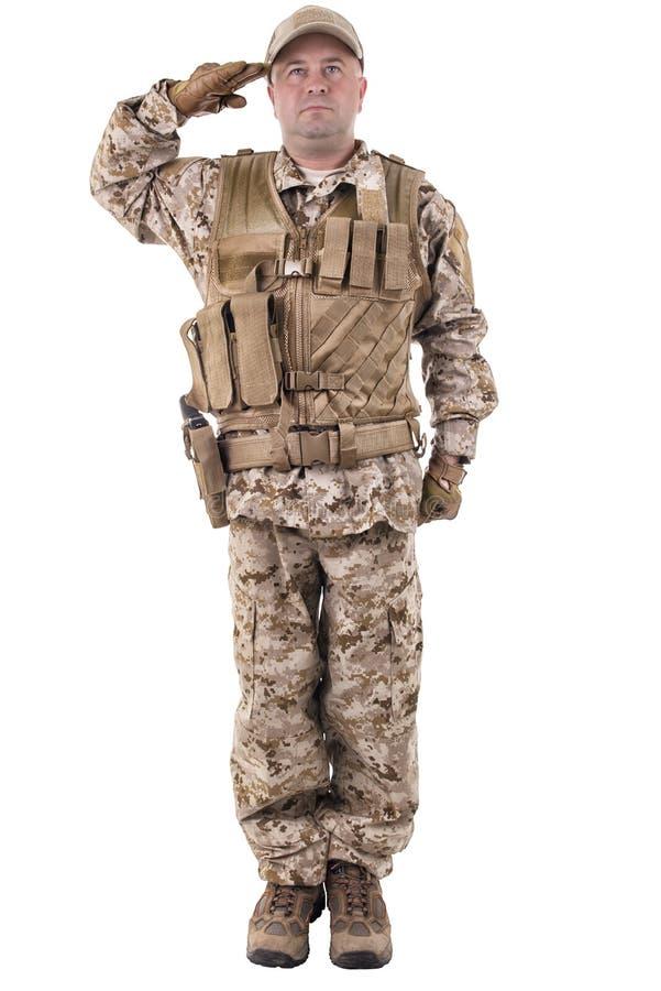 Wojsko żołnierza Salutować zdjęcie royalty free