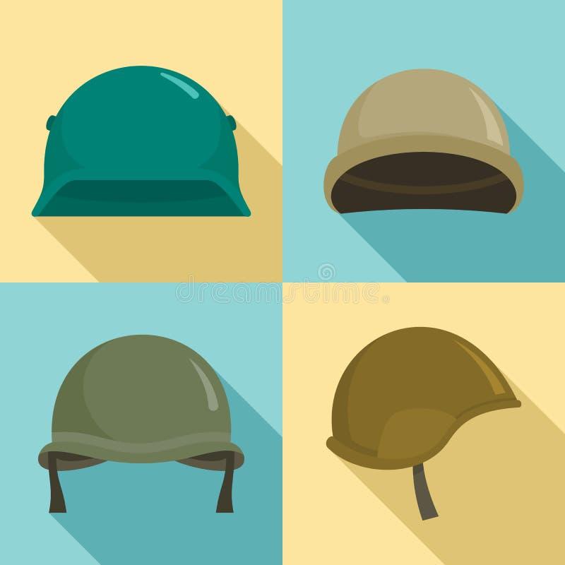 Wojsko hełma ikony set, mieszkanie styl ilustracji
