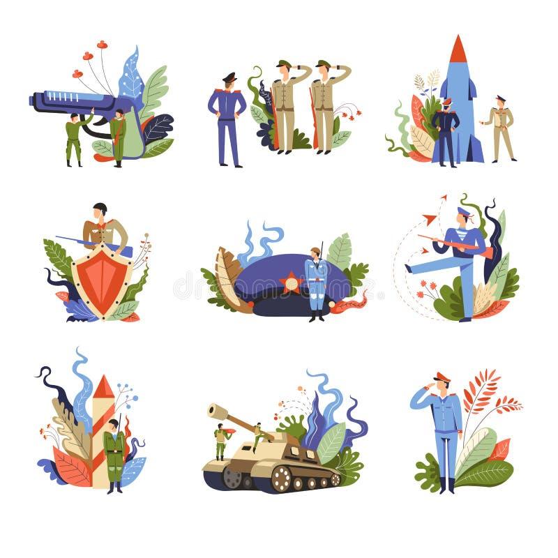 Wojsko i militarni ludzie na usługa ustalonym wektorze royalty ilustracja