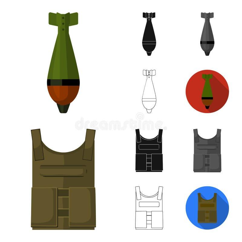 Wojsko i uzbrojenie kreskówka, czerń, mieszkanie, monochrom, kontur ikony w ustalonej kolekci dla projekta Bronie i wyposażenie w royalty ilustracja
