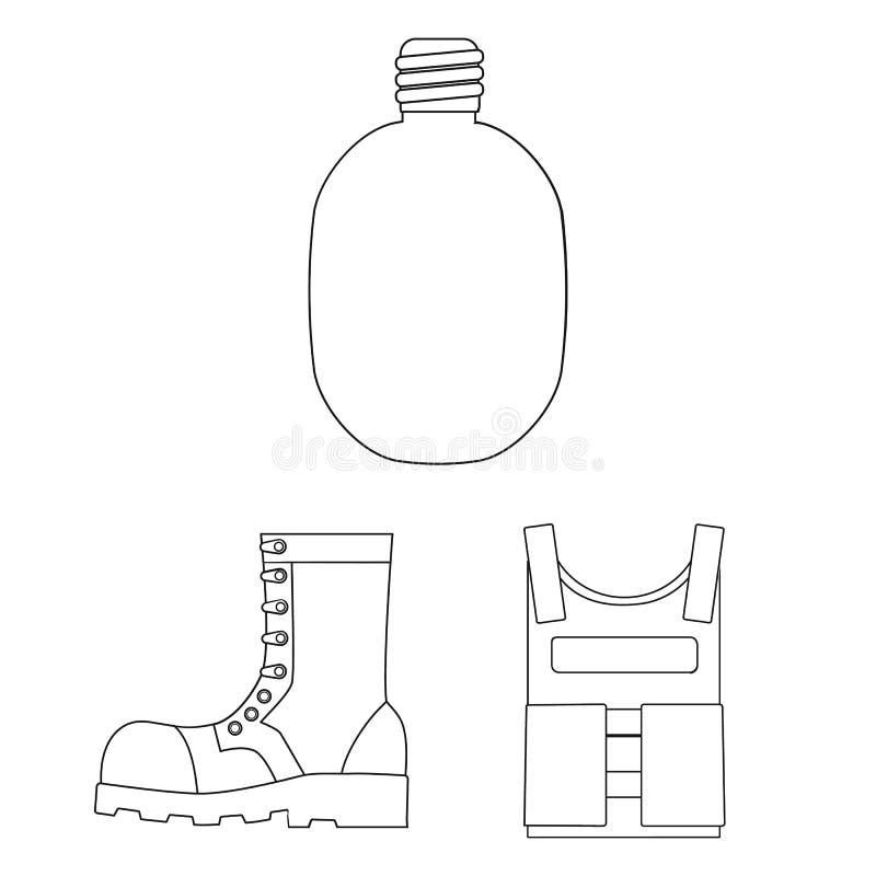 Wojsko i uzbrojenie zarysowywamy ikony w ustalonej kolekci dla projekta Bronie i wyposażenie wektorowy symbol zaopatrują sieci il royalty ilustracja