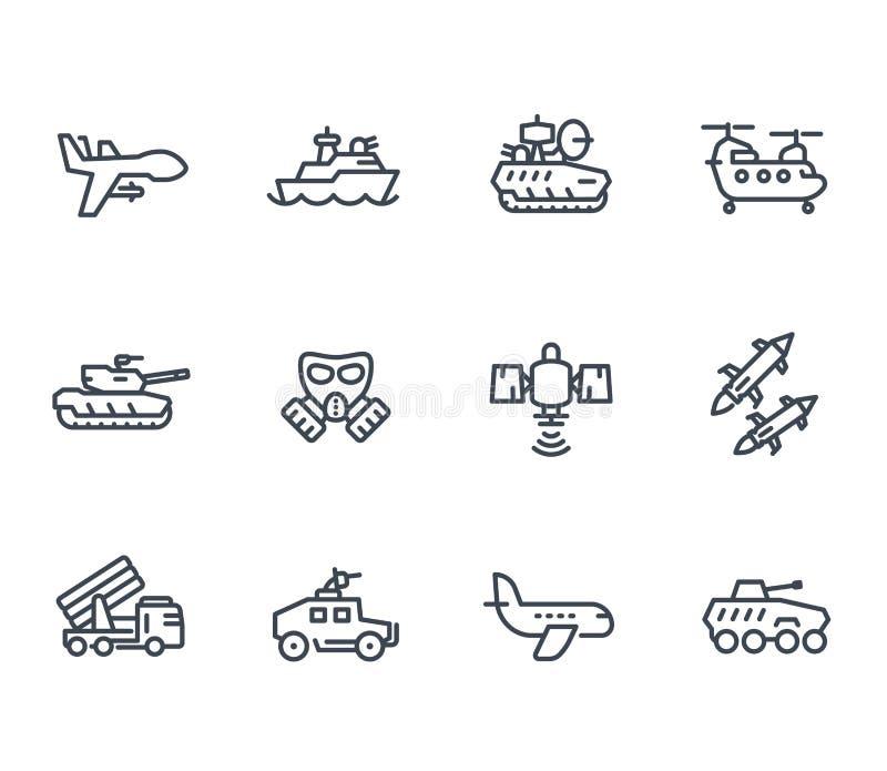 Wojsko kreskowe ikony na białej, wektorowej ilustraci, ilustracji