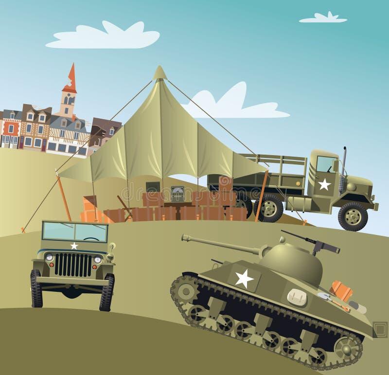 wojsko USA gromadzi się w Drugi wojnie światowa royalty ilustracja