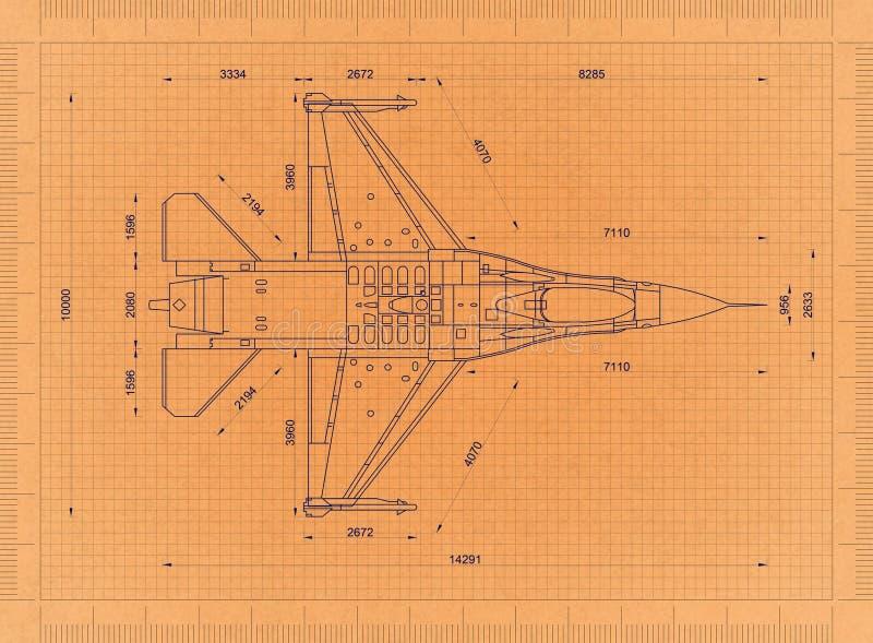 Wojskowego samolot - Retro projekt royalty ilustracja