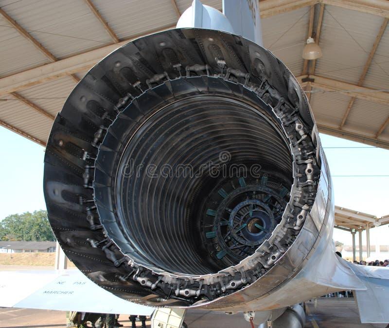 Wojskowego strumienia rury wydechowej samolotu rura wydechowa i nozzle szczegół Zewnętrznie widok wyszczególniający obraz stock