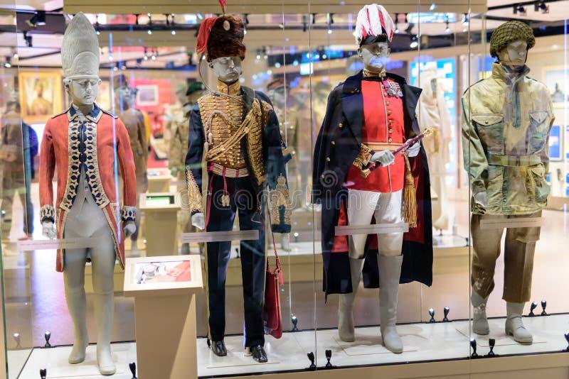 Wojskowego Uniformu pokaz przy Krajowym wojska muzeum Londyn zdjęcia stock