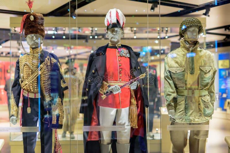 Wojskowego Uniformu pokaz przy Krajowym wojska muzeum Londyn obrazy stock