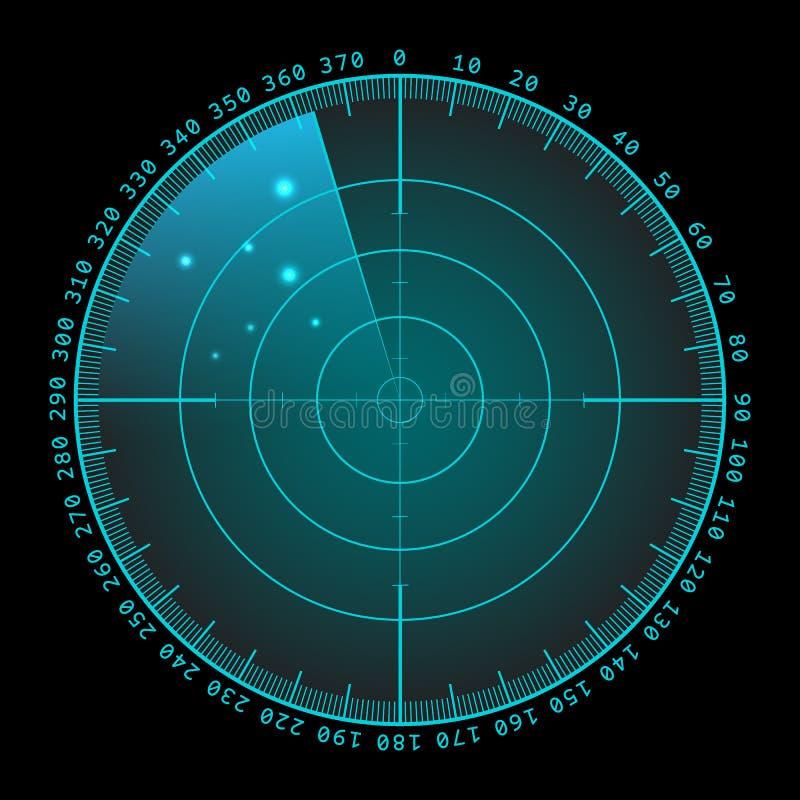 Wojskowego zielony ekran radaru z celem Futurystyczny Hud interfejs projekta ilustraci zapasu use wektor twój royalty ilustracja
