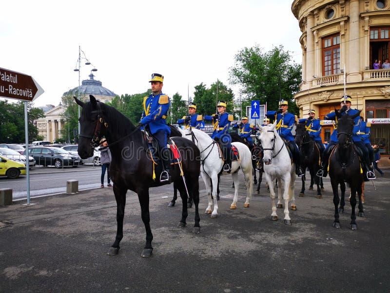 Wojskowy chroni na horseback - 30th Strażowy pułk Mihai Viteazul obraz royalty free