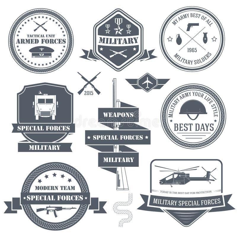 Wojskowy etykietki ustalony szablon emblemata element dla ilustracja wektor