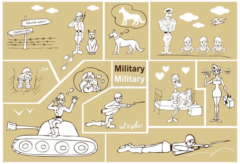 Wojskowy i żołnierze ilustracji