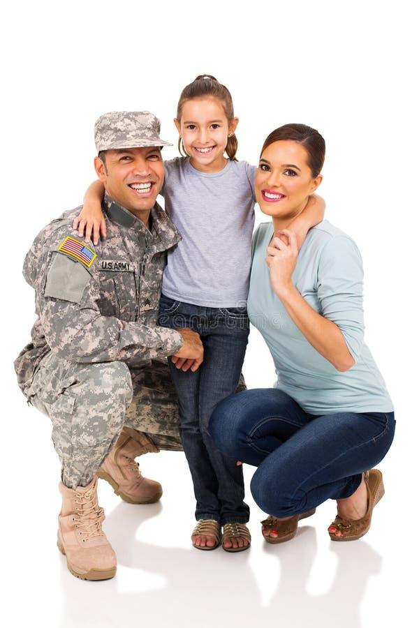 Wojskowy i rodzina fotografia stock