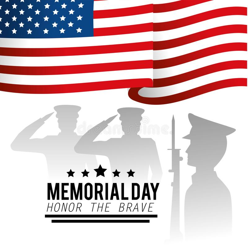 Wojskowy i usa flaga dzień pamięci ilustracji