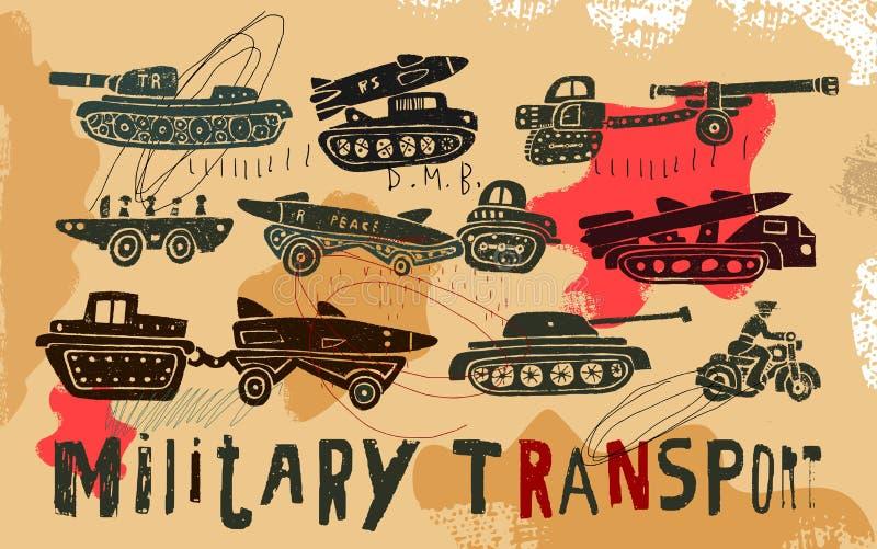 Wojskowy odtransportowywa ilustracja wektor