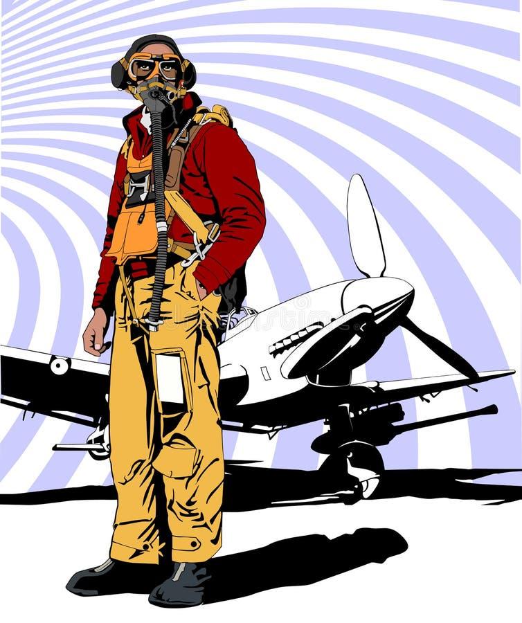 Wojskowy pilotowy WW 2 ilustracja wektor