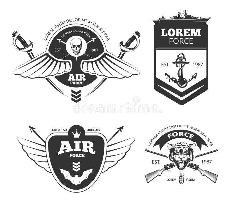 Wojskowy, pojazdy pancerni, airforce, marynarka wojenna rocznika wektorowe etykietki, logowie, emblematy ustawiający ilustracja wektor