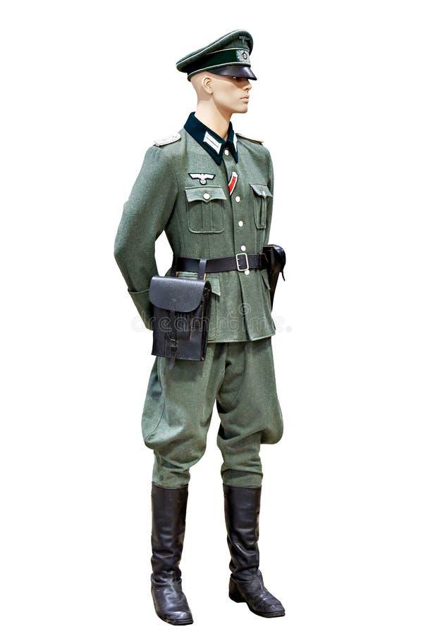 Wojskowy uniform niemiec Wehrmacht odosobniony biel zdjęcie stock
