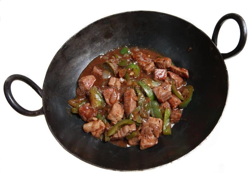 wok китайца черноты говядины фасоли стоковая фотография rf