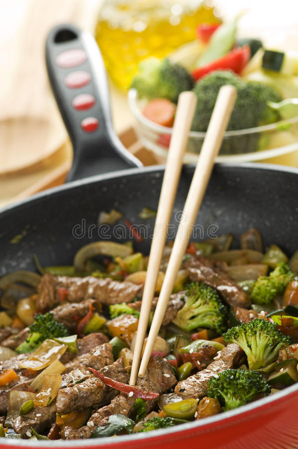 Wok. Beef and vegetables in wok close up shoot stock photo