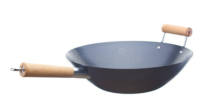 Wok. Unused wok isolated on white background royalty free stock photos
