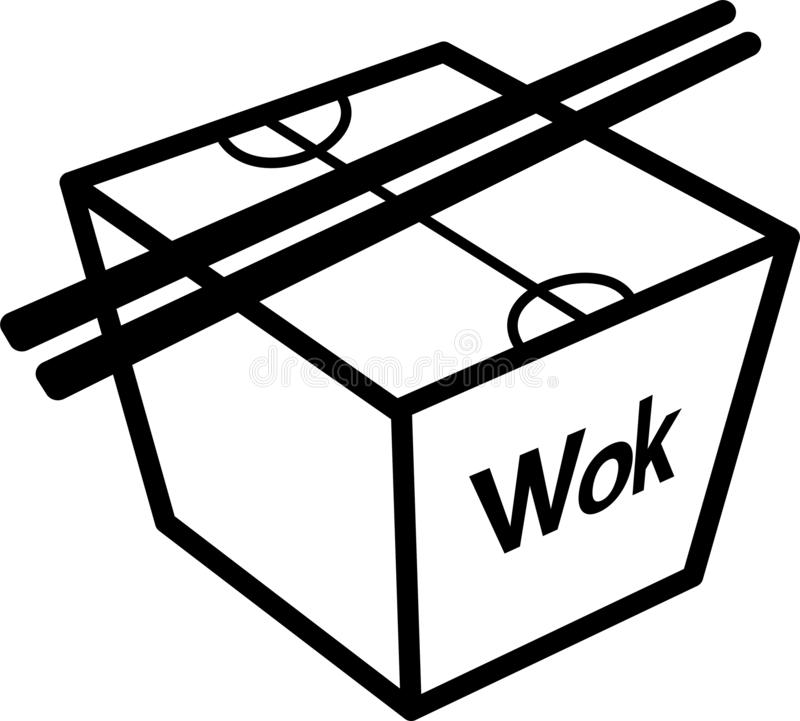 Wok box icon with chopsticks. Box with the inscription Voki chopsticks, icon for websites or applications vector illustration