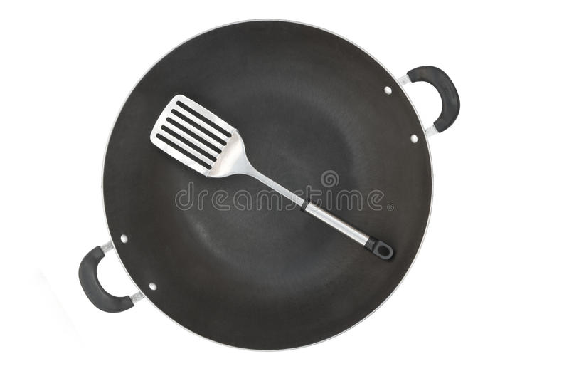 Wok e spatula da vista superior fotografia de stock