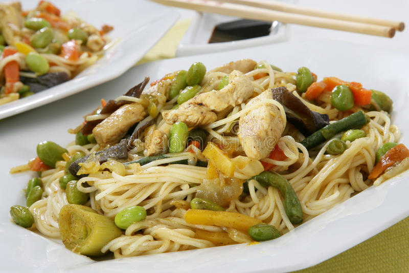 Wok food Asia. With chicken, pasta and vegetables in soybean oil royalty free stock image
