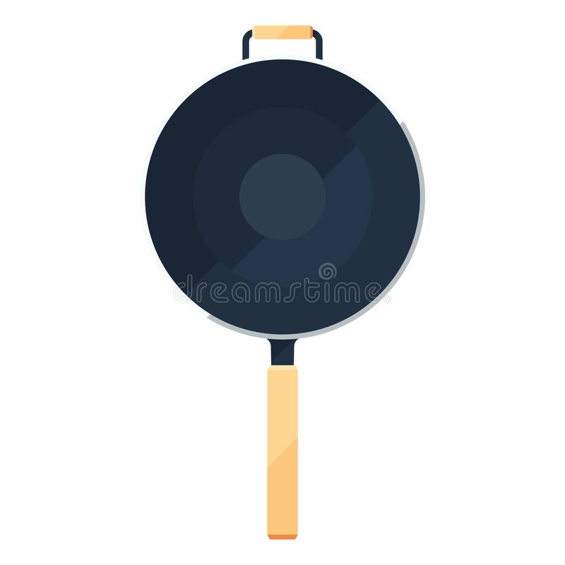 Wok frying pan sign or flat icon of traditional bowl with handle. Wok frying pan sign or flat icon of traditional bowl laying for top view stock illustration