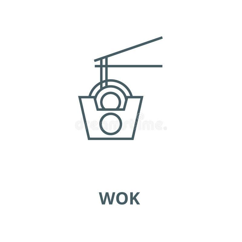 Wok klusek wektoru linii pudełkowata ikona, liniowy pojęcie, konturu znak, symbol ilustracja wektor