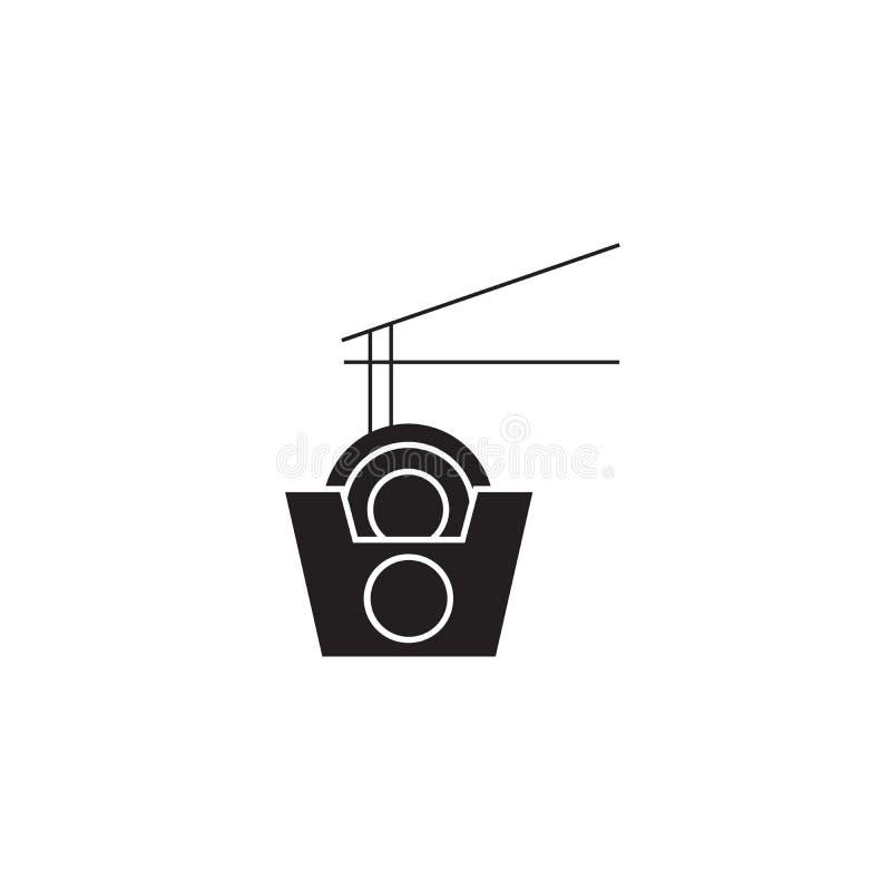Wok kluski boksują czarną wektorową pojęcie ikonę Wok klusek pudełkowata płaska ilustracja, znak royalty ilustracja