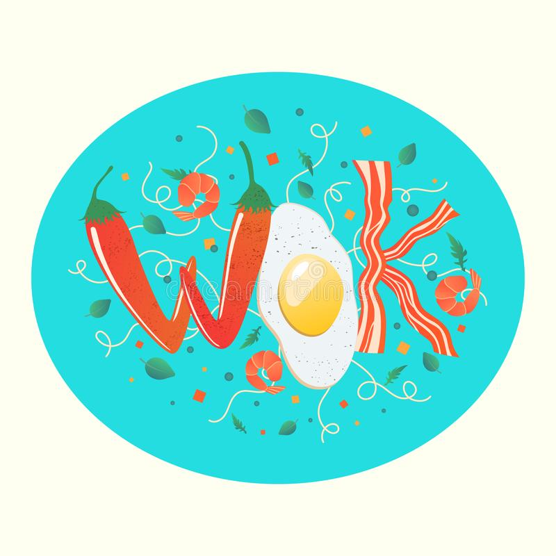 Wok logo for thai or chinese restaurant. Stir fry with edible letters. Cooking process vector illustration. Flipping Asian food stock illustration