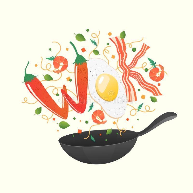Wok logo for thai or chinese restaurant. Stir fry with edible letters. Cooking process vector illustration. Flipping Asian food royalty free illustration