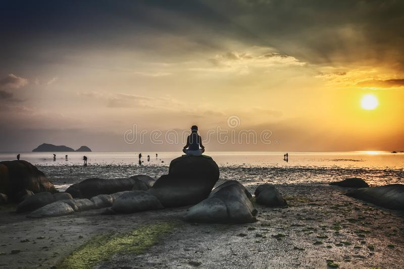 Wok Tum, Hin Kong, het strandgebied van Plai Lem van moerasland met mangrovebos bij het eiland beachfront overzees van Koh Pha ng stock foto's