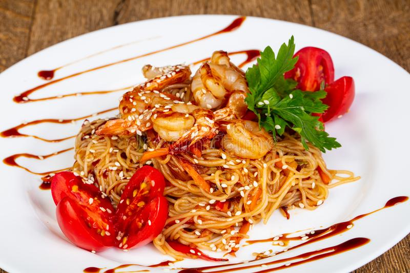Wok noodle with prawn stock image