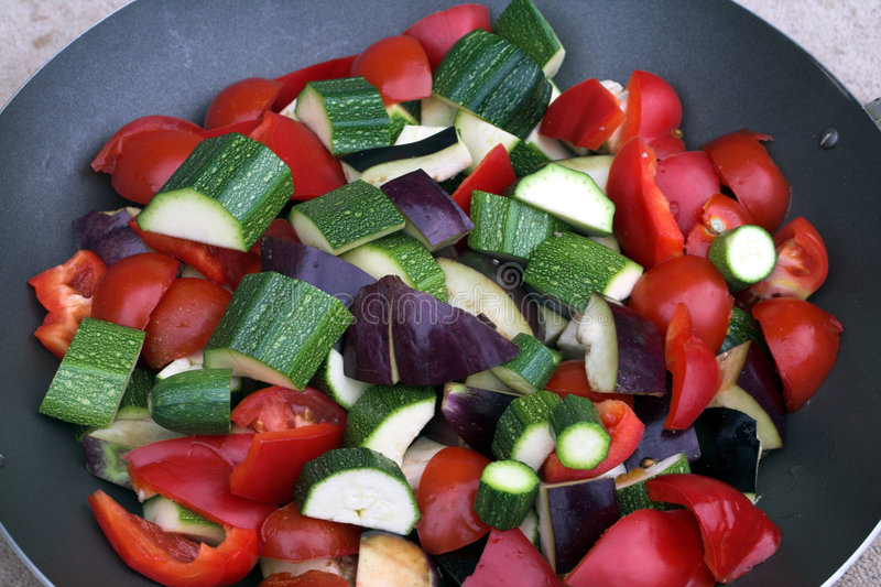 Wok with vegetables stock image