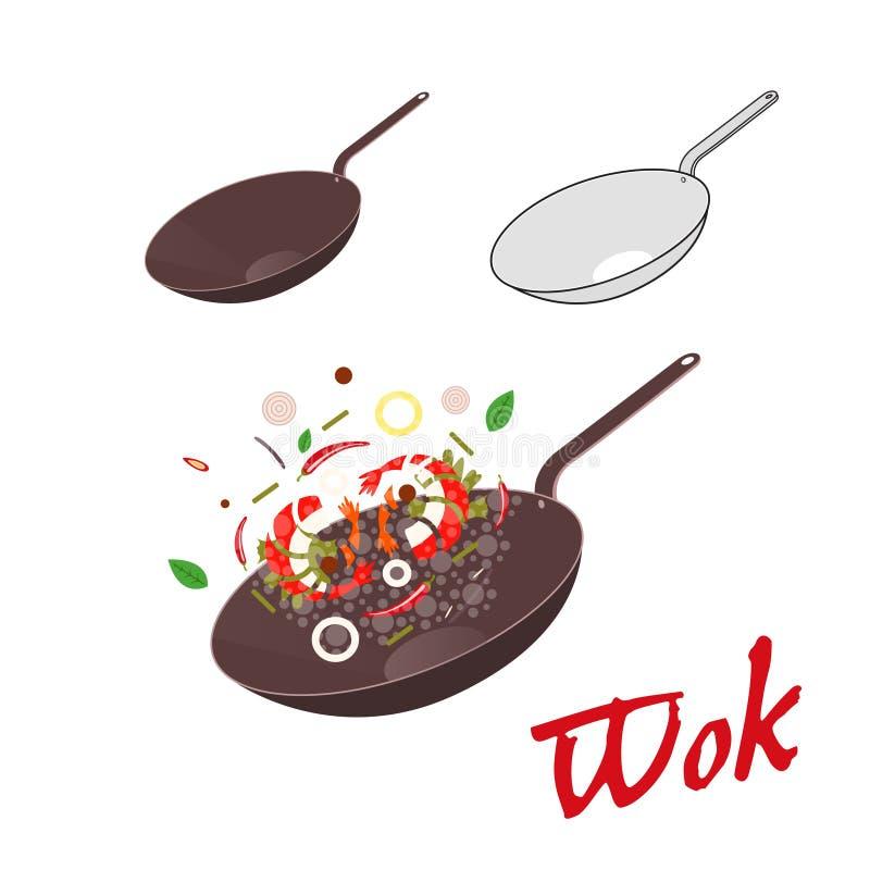 Woka illustrationen Asiatisk stekpanna vektor illustrationer