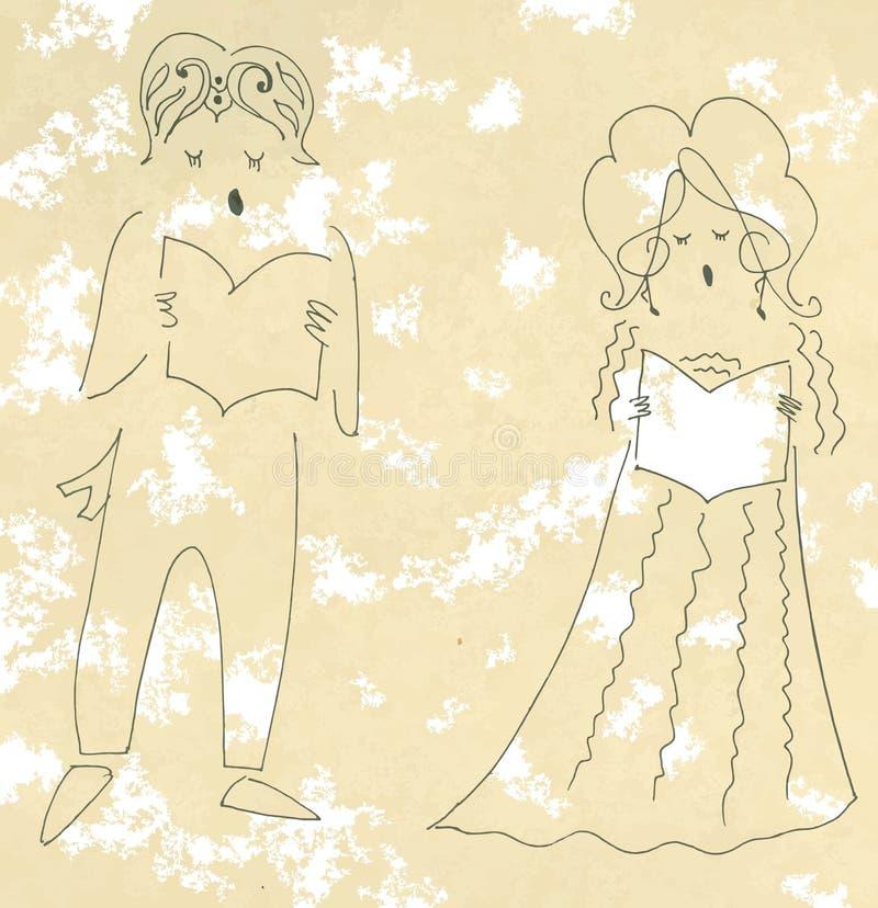 Wokalnie duet Śliczna kreskówka wektoru ilustracja ilustracji