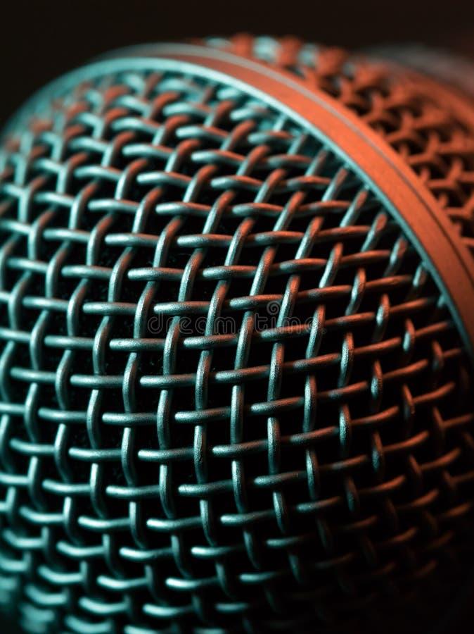 Wokalnie mikrofon makro- zdjęcia stock
