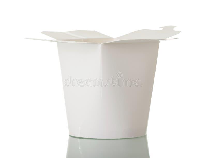 Wokdoos voor snel die voedsel op wit wordt geïsoleerd royalty-vrije stock afbeelding