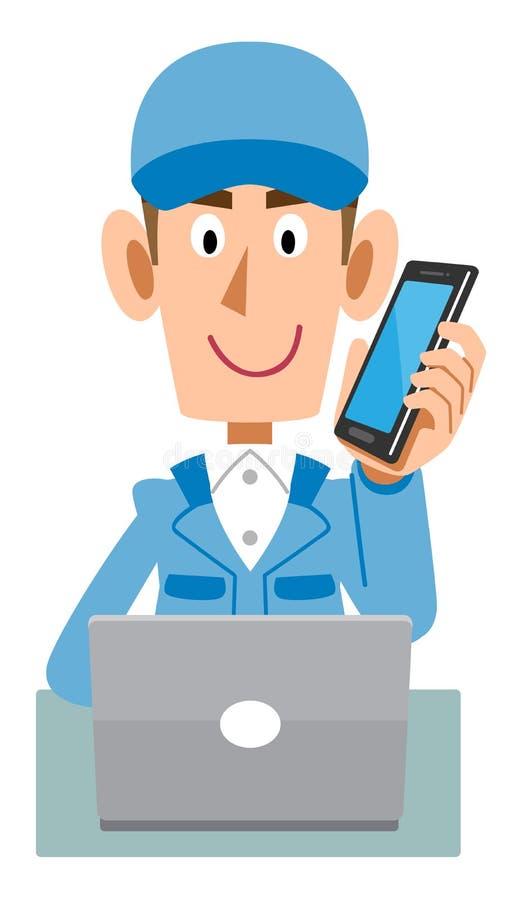 Woking mężczyzna jest ubranym Błękitnych pracujących ubrania który opowiada z telefonem komórkowym podczas gdy działający kompute royalty ilustracja