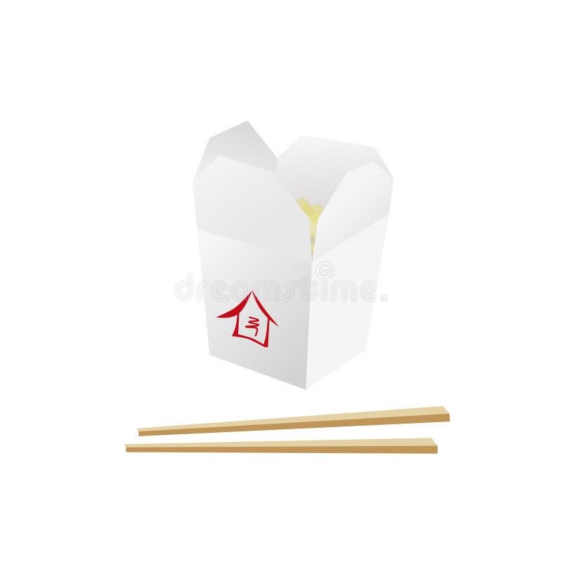 Woklebensmittelkasten mit Nudeln und Hiebstöcken lizenzfreies stockfoto