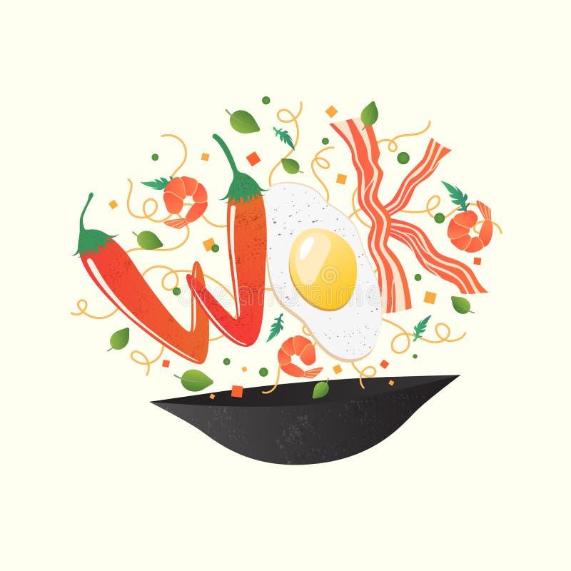 Woklogo für thailändisches oder chinesisches Restaurant Aufruhrfischrogen mit essbaren Buchstaben Garprozessvektorillustration Le stock abbildung