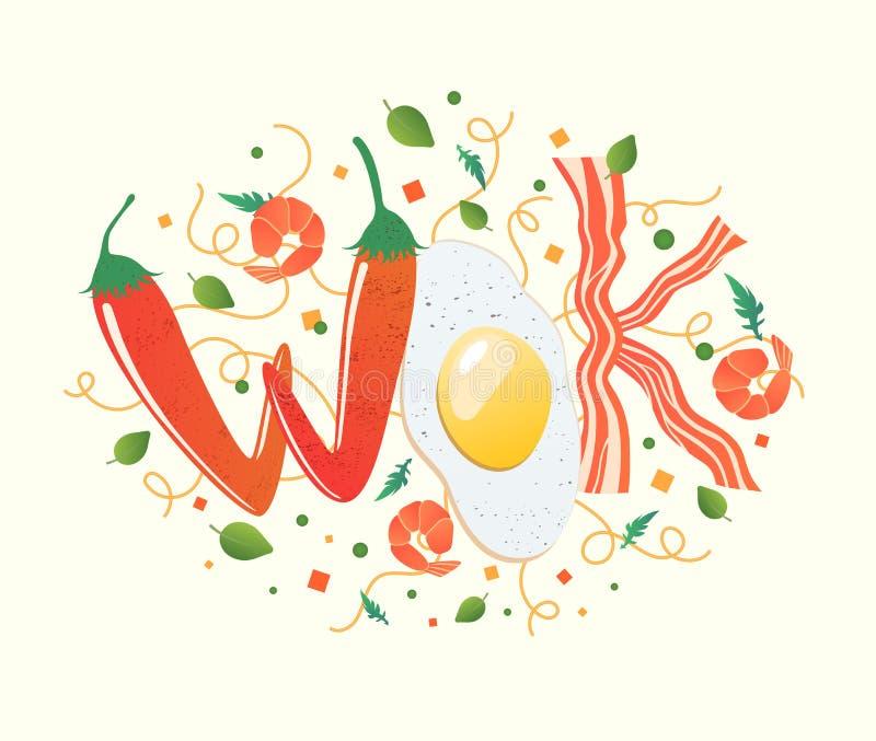 Woklogo für thailändisches oder chinesisches Restaurant Aufruhrfischrogen mit essbaren Buchstaben Garprozessvektorillustration Le lizenzfreie abbildung