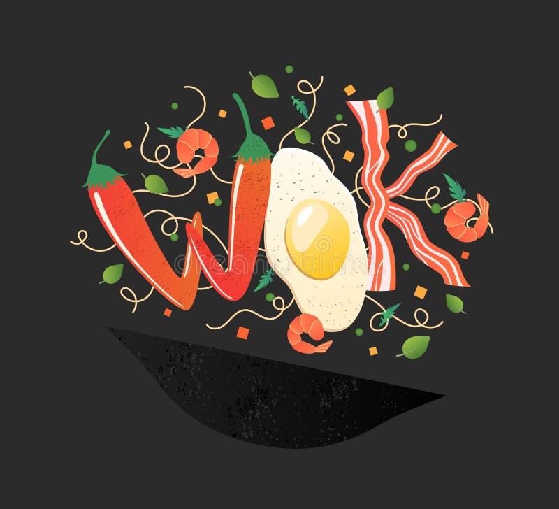 Woklogo für thailändisches oder chinesisches Restaurant Aufruhrfischrogen mit essbaren Buchstaben Garprozessvektorillustration vektor abbildung