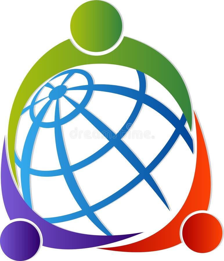 Wokoło światowego loga ilustracja wektor