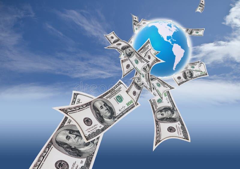 wokoło pieniądze światu ilustracja wektor